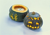 Carved pumpkins for soup and Halloween