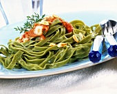 Tagliatelle with tomato and Roquefort sauce and pine nuts
