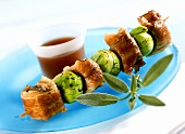 Hare kebabs with Brussels sprouts