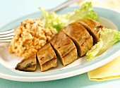 Spicy pheasant breast with red lentils