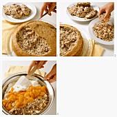 Making nut cake with mandarin oranges