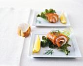 Stuffed salmon rolls with horseradish mousse
