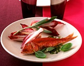 Fried red mullet with radicchio and sage