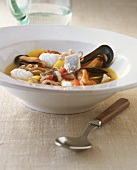 Bouillabaisse with fish and seafood