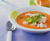 Creamed fish soup with courgettes and mushrooms