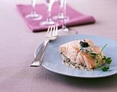 Poached Salmon with Caviar Sauce