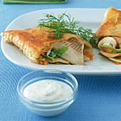 Brook trout in puff pastry with herb mousse