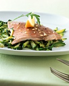 Steamed carp on a bed of courgettes and rocket