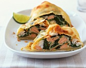 Salmon and pike-perch strudel with spinach