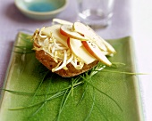 Cheese roll with mung bean sprouts and apple
