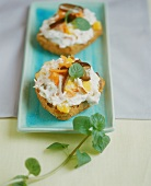 Wholemeal roll with soft cheese with carrots and dates