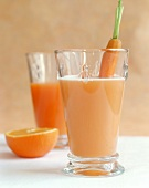 Buttermilk carrot drink with oranges