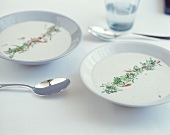 Celeriac soup with ham and chives