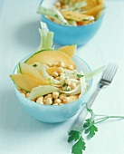 Chick-pea salad with fennel and sweet melon