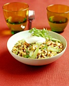 Lentils with celery, nuts and cream