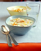 Yoghurt soup with vegetables and salmon