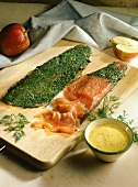 Marinated salmon trout with mustard and apple sauce