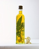 Herb oil in bottle