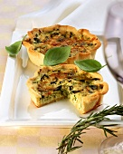 Courgette quiche with olives