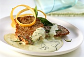 Escalope with courgette sauce