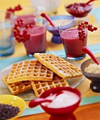 Redcurrant drinks and sweet waffles for children's party