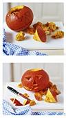 Carving pumpkin for Halloween