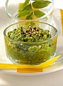 Mashed potato and peas with sesame