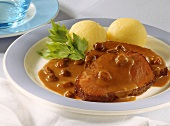 Rhenish Sauerbraten (braised pickled beef), raisins & dumplings