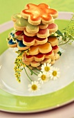 Coloured flower biscuits