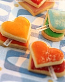 Heart-shaped fortune cookies