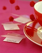 Love-letter as table decoration