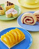 Sponge roll, fruit cake and sponge biscuits