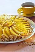 Mango cake with flaked almonds