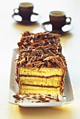 Layer cake with chocolate curls