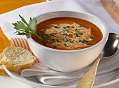 Creamed tomato soup with parsley