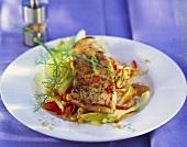 Pork escalope on curried vegetables