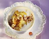 Yoghurt with cinnamon apple and nuts