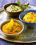 Middle Eastern dips: Babaganoush, carrot & lentil dip, hummus