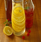 Lemon vinegar, raspberry vinegar and spiced vinegar