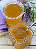 Apple puree with maple syrup; apple jelly
