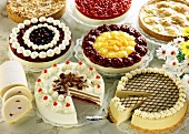 Assorted cakes and gateaux