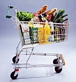 Shopping trolley with food, drinks and detergents