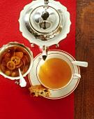 Earl Grey tea with kumquat syrup