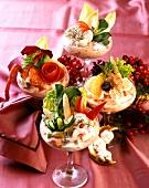 Seafood cocktails served in festive glasses