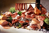 Still life with pork and pork products