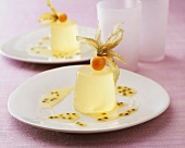 Lemon blancmange with passion fruit sauce