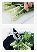 Cooking pak choi in the wok