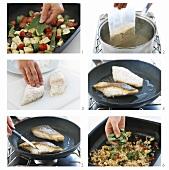 Preparing hake with egg barley and vegetables