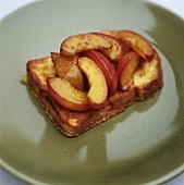 French toast with fried apple wedges