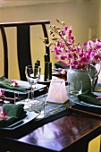 Festive table laid for Asian meal